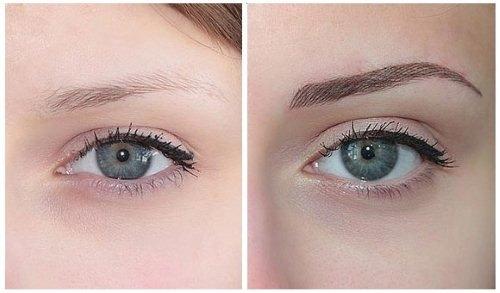 окрашивание хной бровей фото до и после