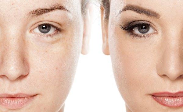 Лицо до и после макияжа
