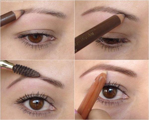 Зрительное увеличение бровей с помощью светлого карандаша