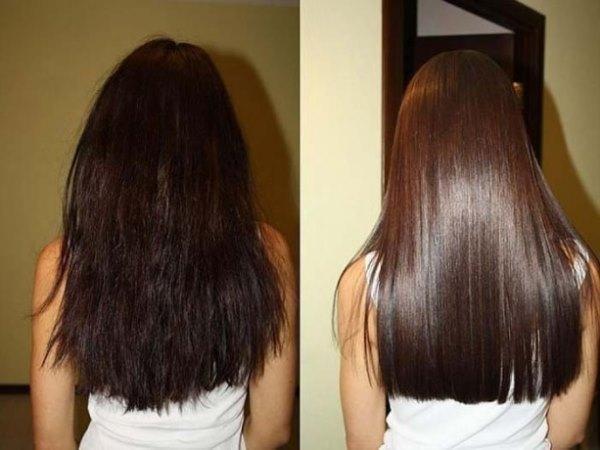 Волосы до и после процедуры ламинирования