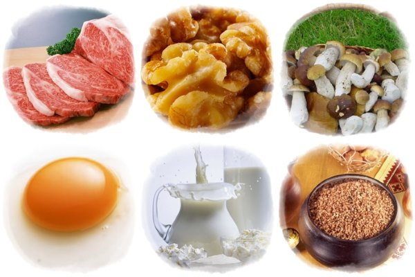 Продукты с витамином В3.