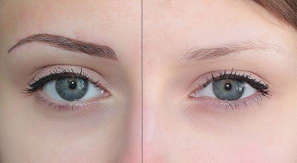 Фото до и после покраски бровей хной.