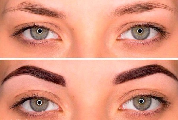 Фото до и после окрашивания бровей краской.
