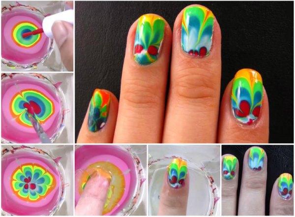 Водная техника дизайна ногтей - пошаговое фото