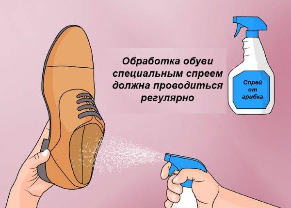 Обработка обуви специальным спреем