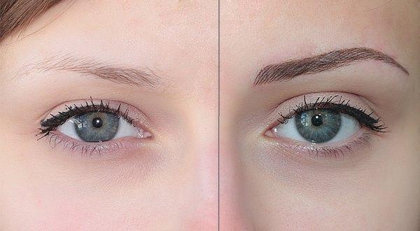 Фото до и после татуажа бровей.