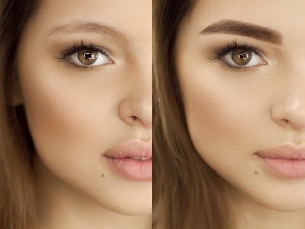 Фото до и после биотатуажа бровей.