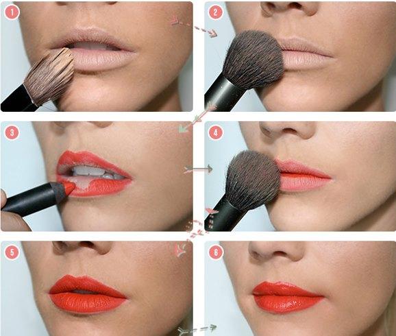 Пошаговое фото макияжа губ