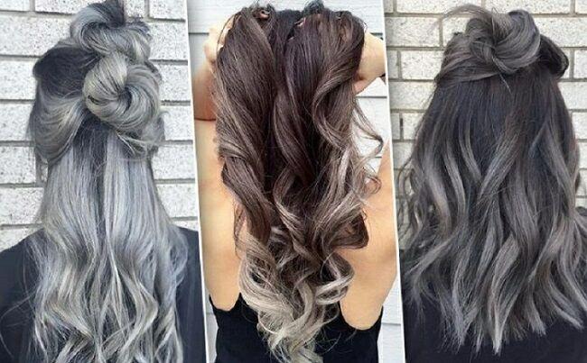 Пепельное (серое) омбре на темные волосы. Варианты стильного окрашивания