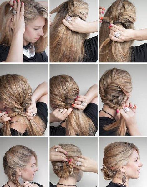 Прическа быстро своими руками на средние волосы