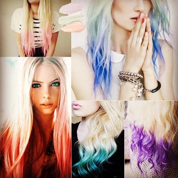 Окрашивание прядей волос в разные цвета.