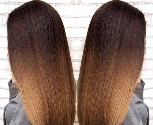 Растяжка цвета на коротких волосах фото до и после