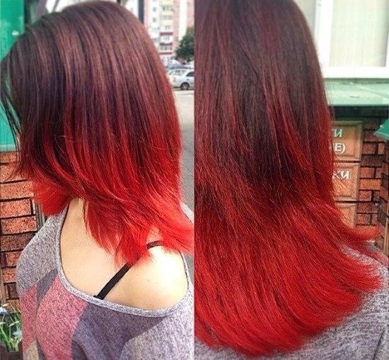 черные волосы с красным омбре