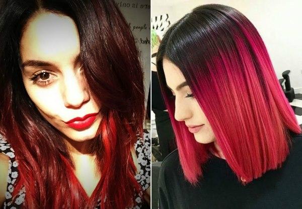 Красное омбре на русые волосы