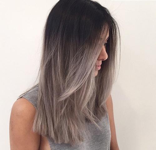 Омбре окрашивание на темные, темно-русые волосы. Техника, Фото