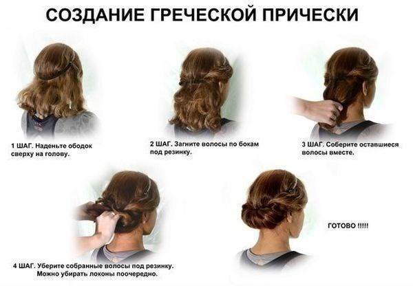 Делаем стильную греческую прическу на длинные волосы. Инструкция, фото