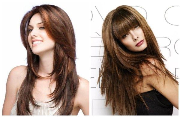 Стрижка каскад на средние волосы. С челкой и без, удлиненный каскад. Фото