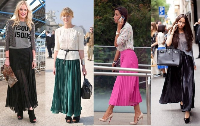 С чем носить макси юбку плиссе
