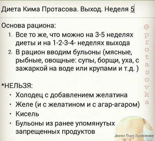 Диета Кима Протасова: общее меню, список продуктов