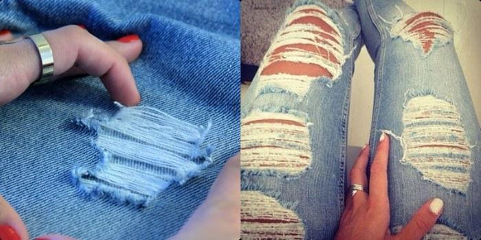 Дырки на джинсах своими руками. Пошаговый мастер класс с фото и видео