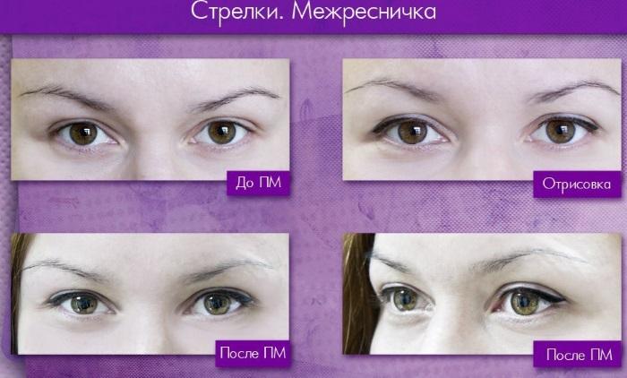 Татуаж стрелок на глазах: фото до и после. Как делают с растушевкой, нависшим веком. Последствия, сколько держится