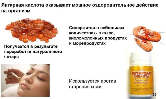 Янтарная кислота. Полезные свойства для здоровья, в косметологии. Как принимать в таблетках, продуктах питания, от морщин, пигментных пятен, прыщей, похмелья
