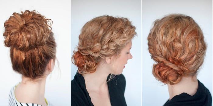 Прическа пучок на средние волосы. Как сделать низкий, высокий с бубликом пошагово. Фото