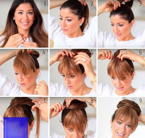 Как сделать челку не обрезая волосы, как у кореянок, на две стороны, бок, без хвоста, без стрижки. Фото
