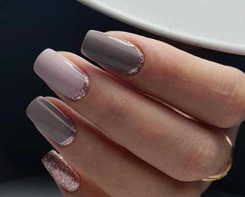 Дизайн ногтей серый с розовым. Фото маникюра гель-лаком, сочетание цветов, шеллак, матовый, градиент со стразами