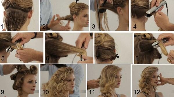 Легкие и красивые прически с локонами на средние волосы. Фото