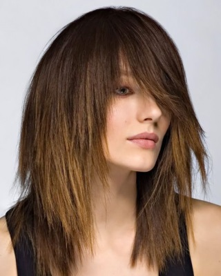 Рваная челка с удлинением по бокам на длинные волосы, каре. Как стричь, фото
