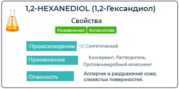 1,2 Hexanediol (1,2-Гександиол) в косметике. Что это такое, вред, средства